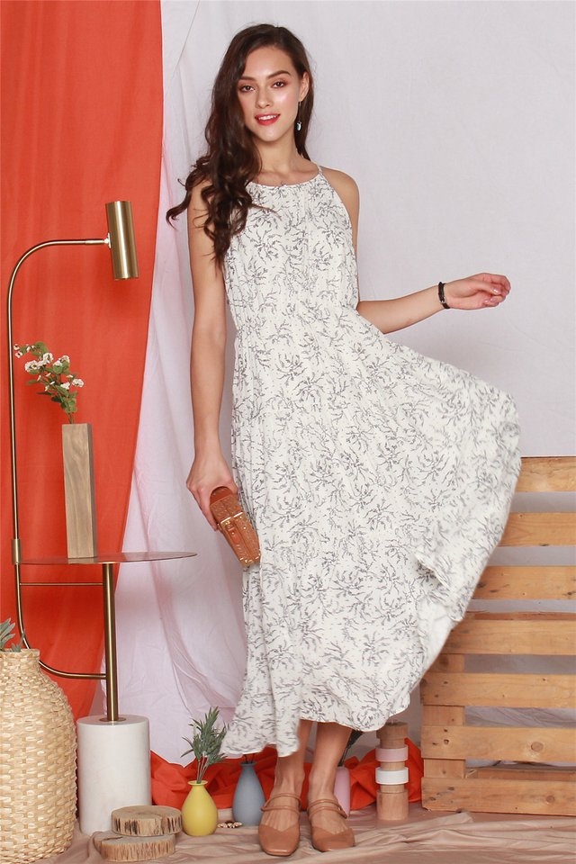 Printed Tiered Maxi Dress in White