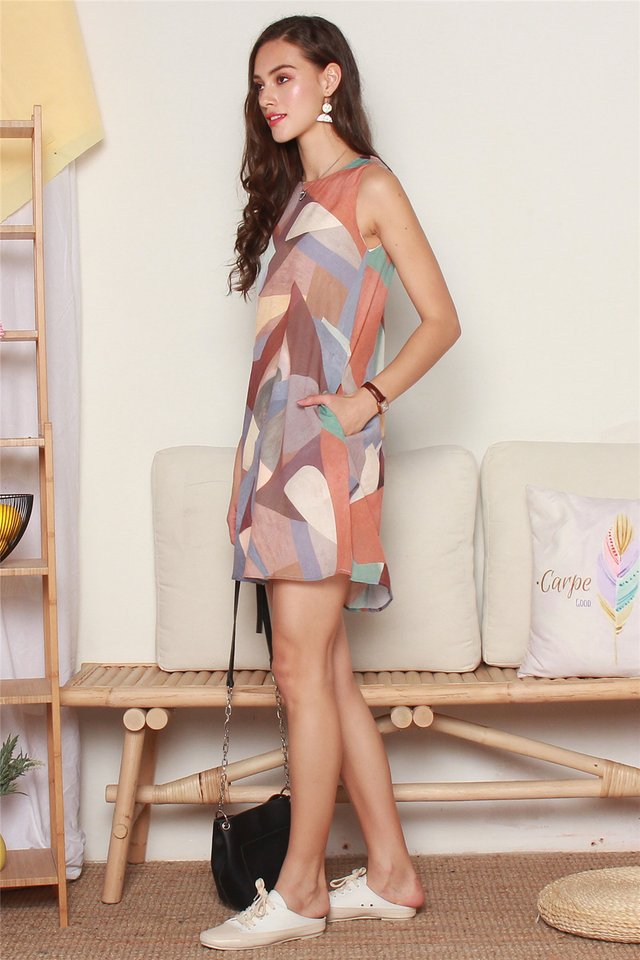 ACW Abstract Shapes Trapeze Dress in Brown