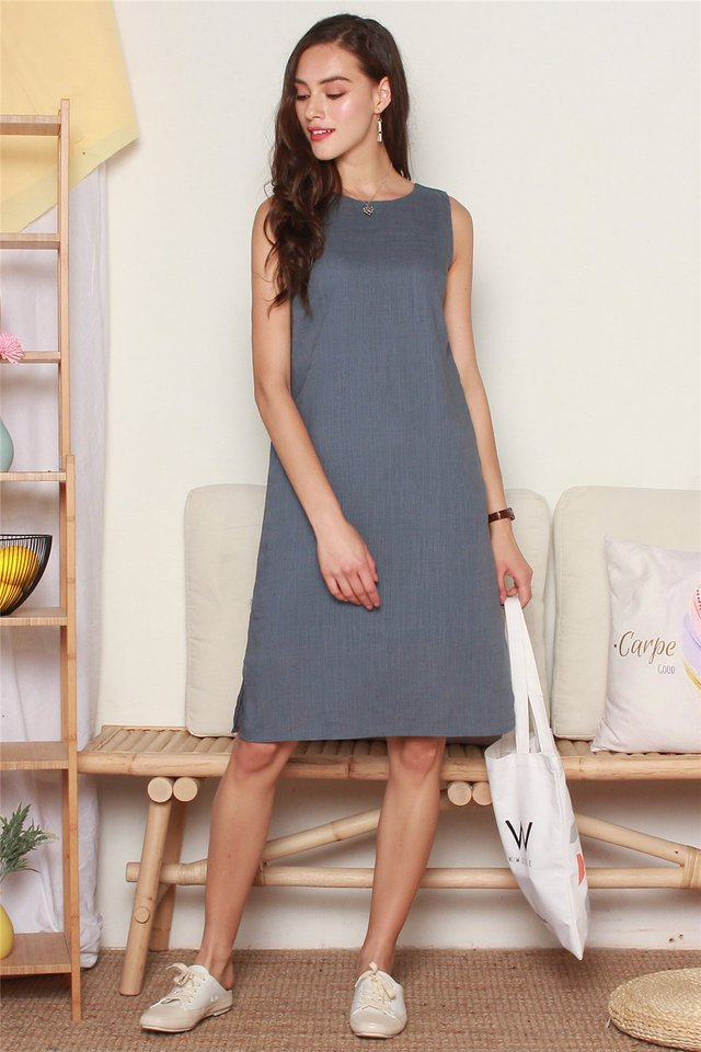 ACW Linen Basic Midi Dress in Ash Blue