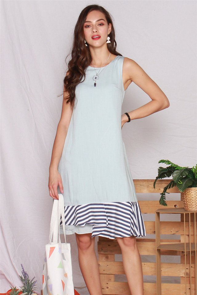 Denim Pinstripe Midi Dress in Light Wash