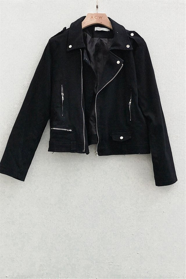 Zipper Structured Jacket in Black