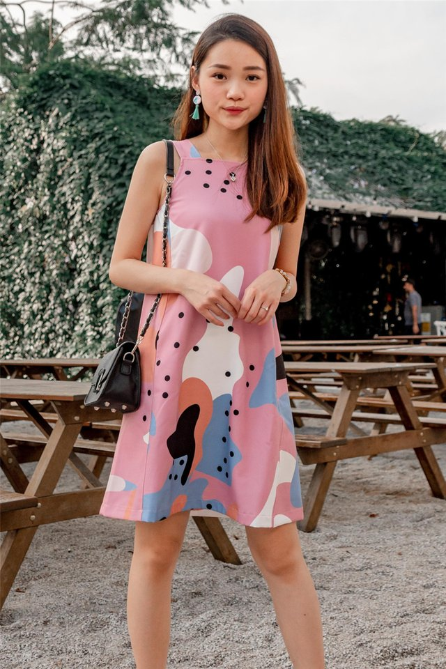 ACW Pink Abstract Cut In Shift Dress