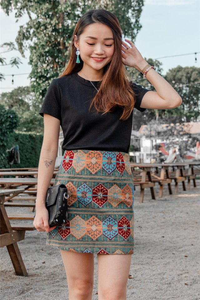 Coloured Aztec Printed Skirt in Jade