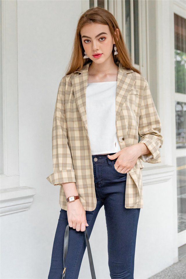 Gingham Oversized Blazer in Yellow