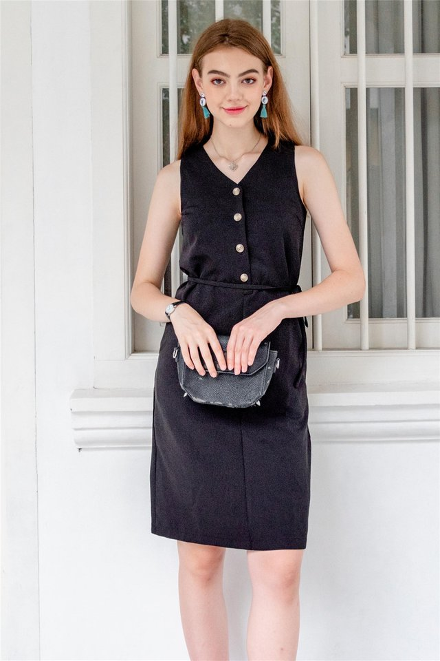 Button Down Sash Midi Dress in Black