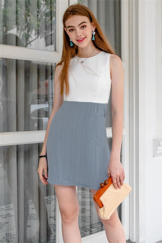 Pinstripe Pocket Flare Dress in Light Blue