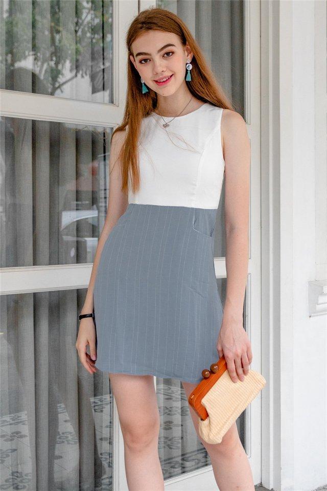 Pinstripe Pocket Flare Dress in Light Blue