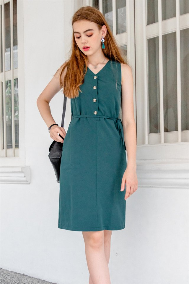 Button Down Sash Midi Dress in Emerald