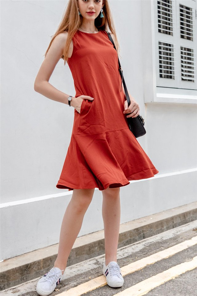 ACW Dropwaist Flounce Midi Dress in Rust