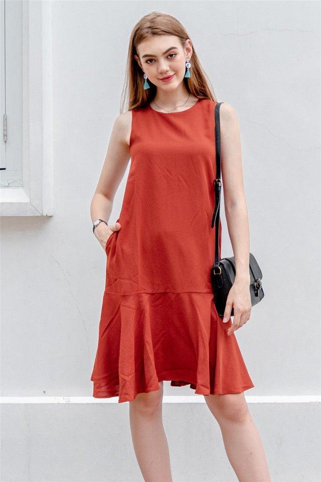 ACW Dropwaist Flounce Midi Dress in Rust