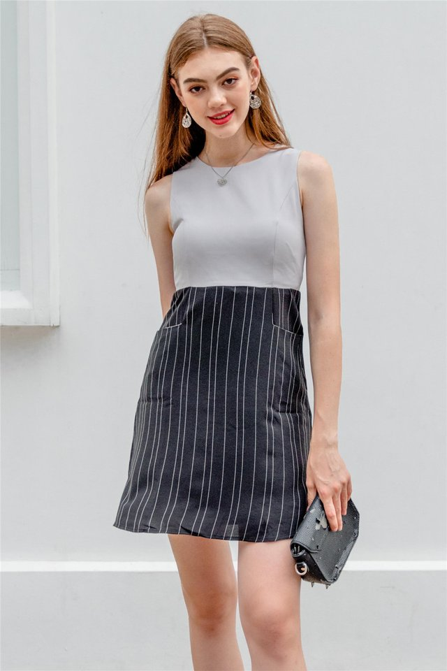 Pinstripe Pocket Flare Dress in Grey