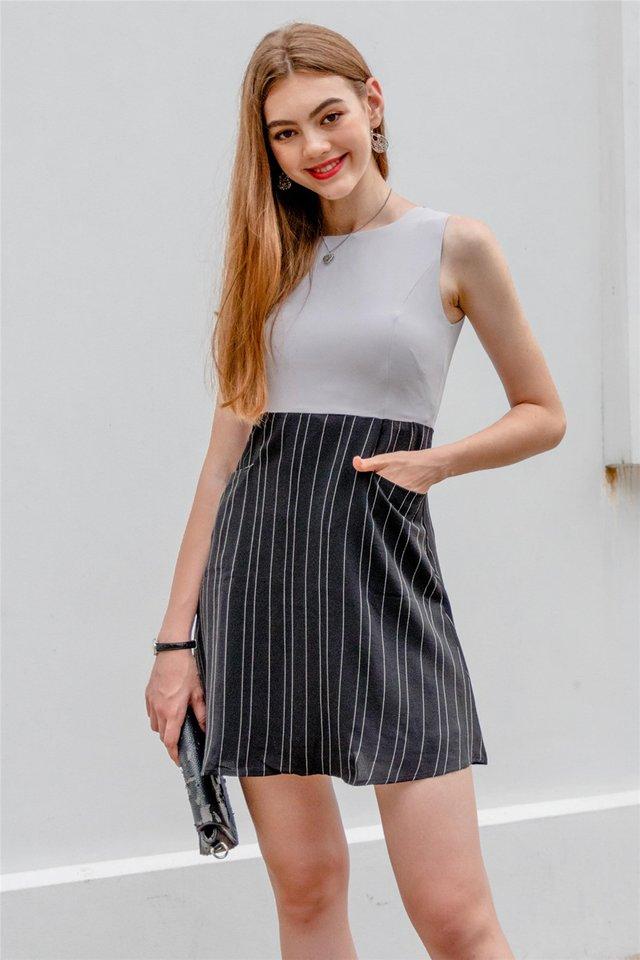 Pinstripe Pocket Flare Dress in Grey