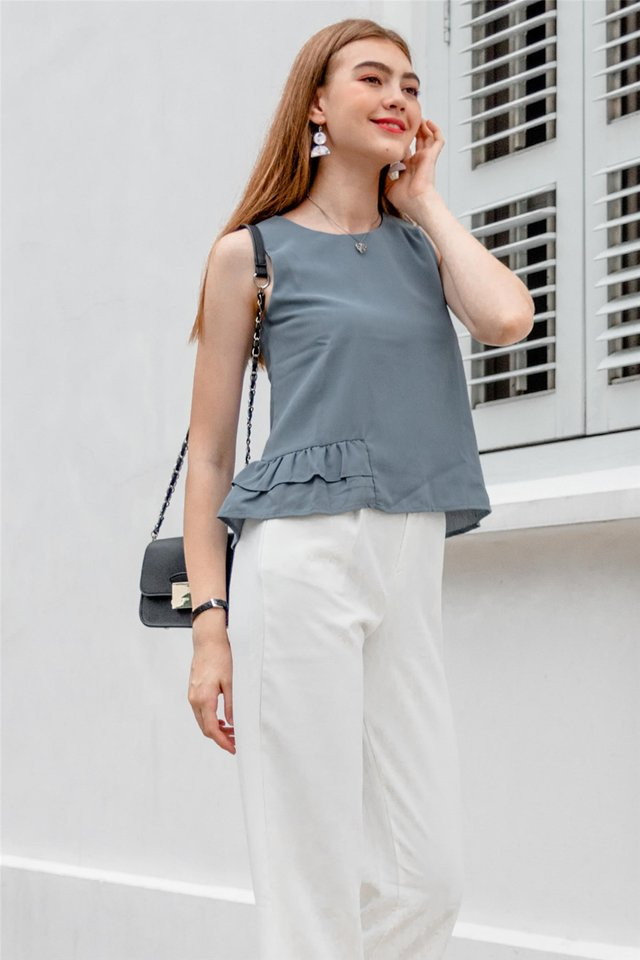 ACW Frill Shell Top in Ash Blue
