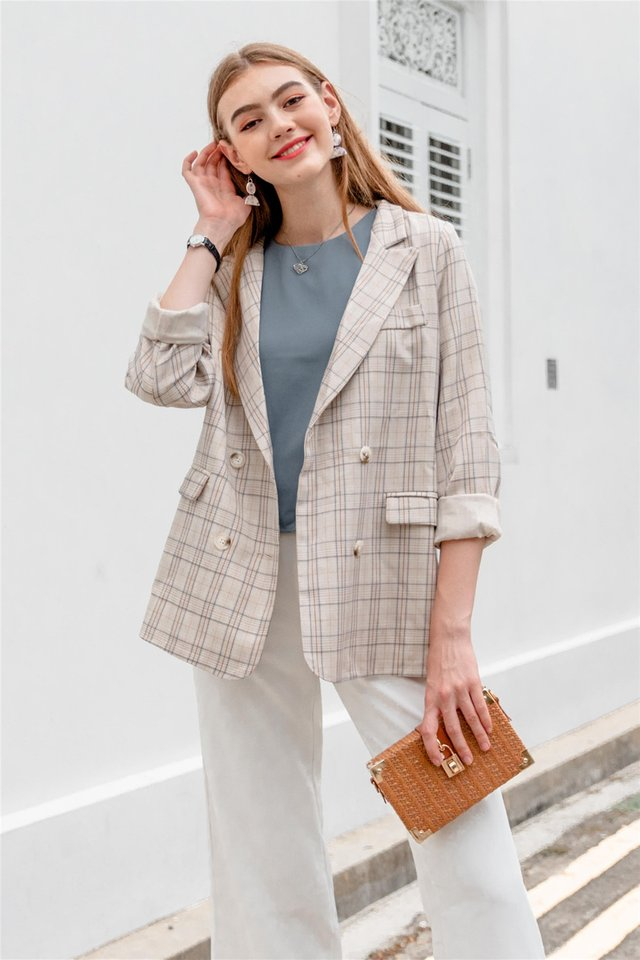Gingham Oversized Blazer in Khaki