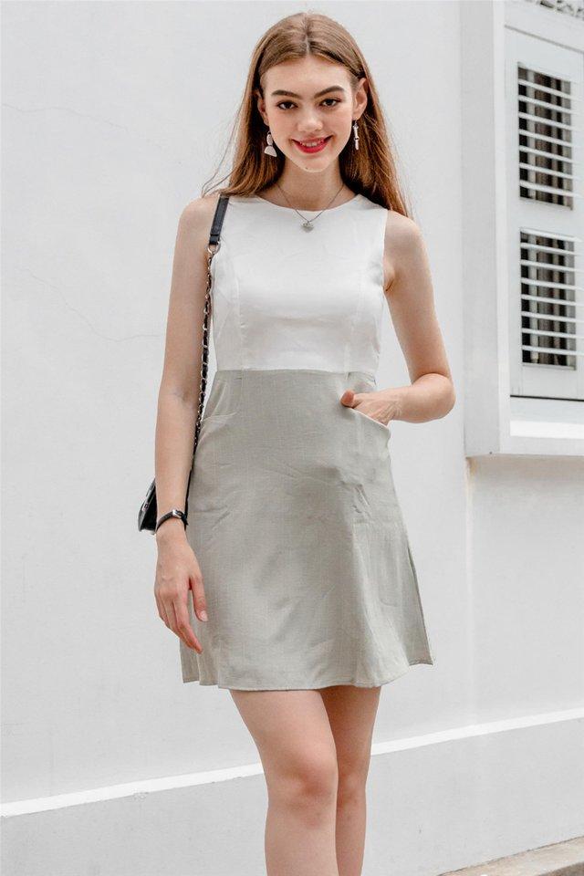Pinstripe Pocket Flare Dress in Matcha