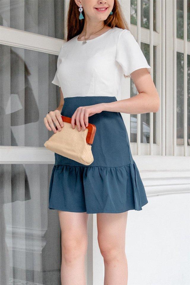 Colourblock Flutter Sleeve Drophem Dress in Blue