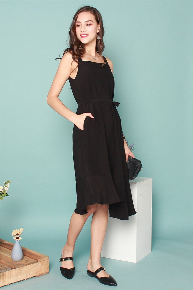 ACW Tiered Hem Midi Dress in Black