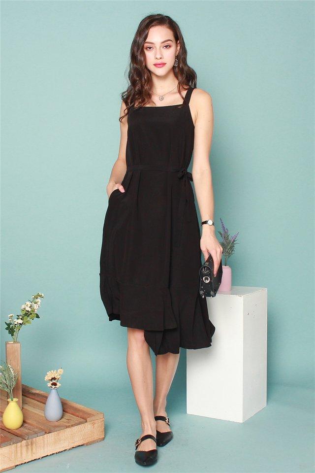 ACW Tiered Hem Midi Dress in Black