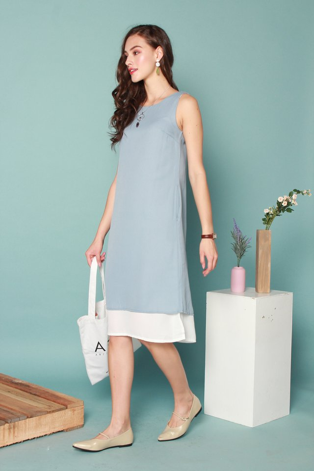 Straight Cut Tier Colourblock Midi Dress in Ash Blue