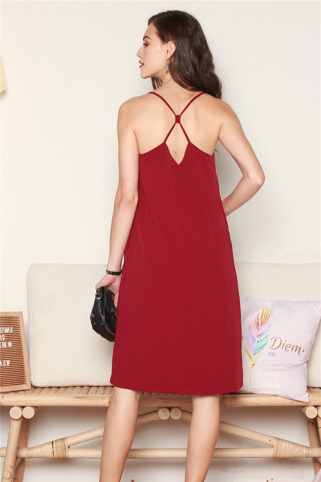 Diamond Crossback Midi Slip Dress in Wine
