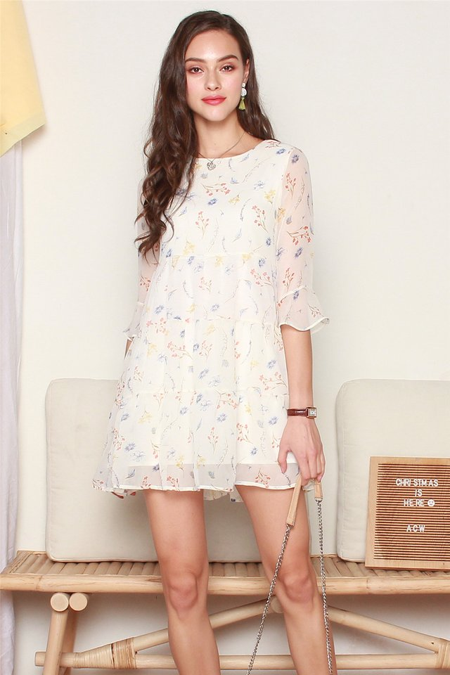 ACW Pastel Floral Bell Sleeve Tiered Dress in White