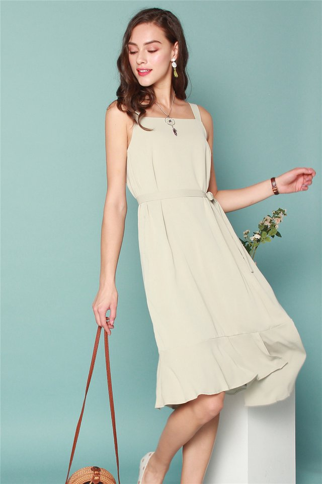 ACW Tiered Hem Midi Dress in Matcha