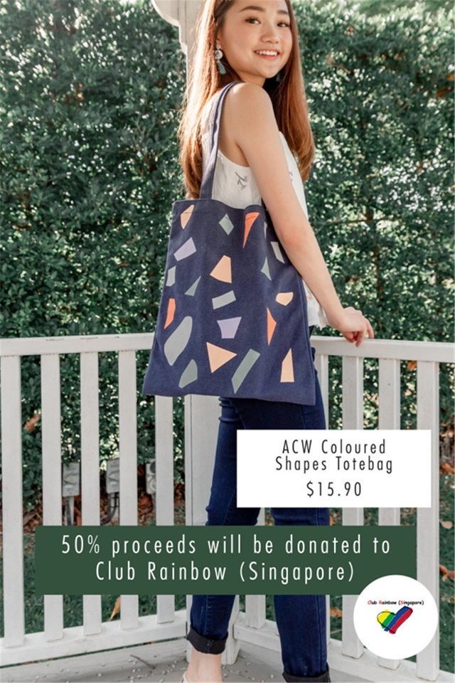 *Season of Giving* ACW Festive Totebag (Navy Coloured Shapes)