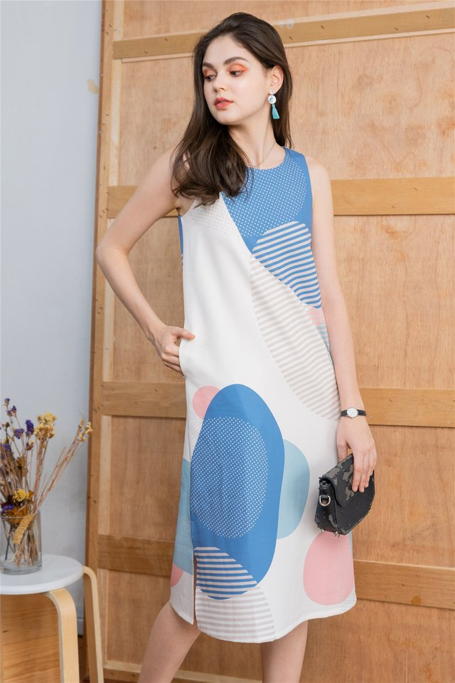 Geometric Rocks Slit Midi Dress in Blue