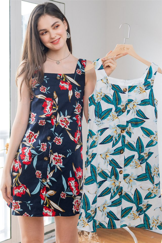 ACW Botanical Button Panel Shift Dress in Navy