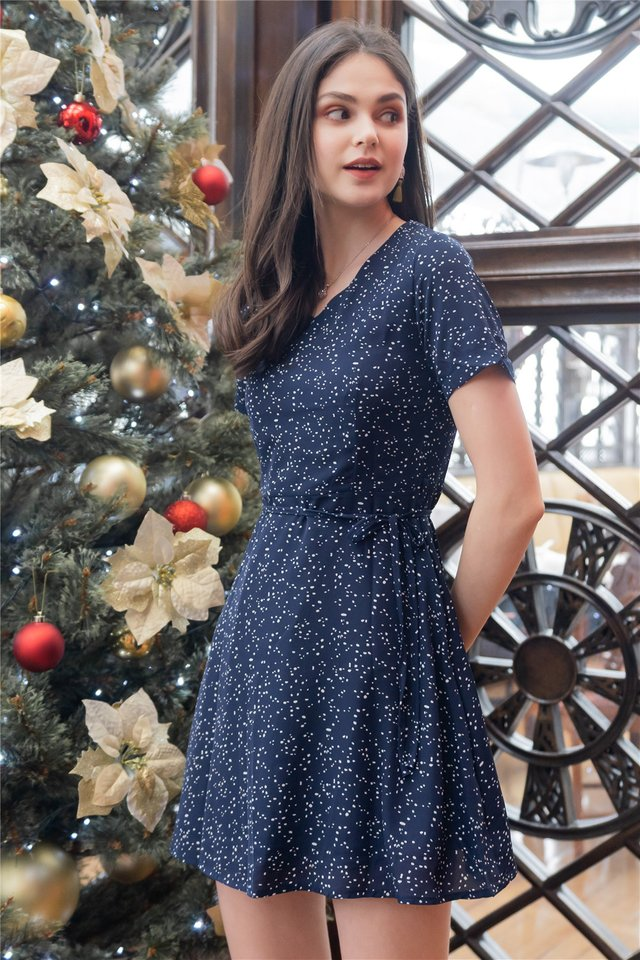 *BACK IN STOCK* ACW Polka Dot Wrap Swing Dress in Navy