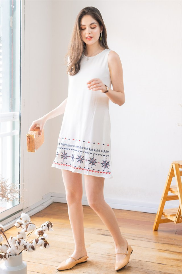 *BACK IN STOCK* Star Sign Embroidery Shift Dress in White