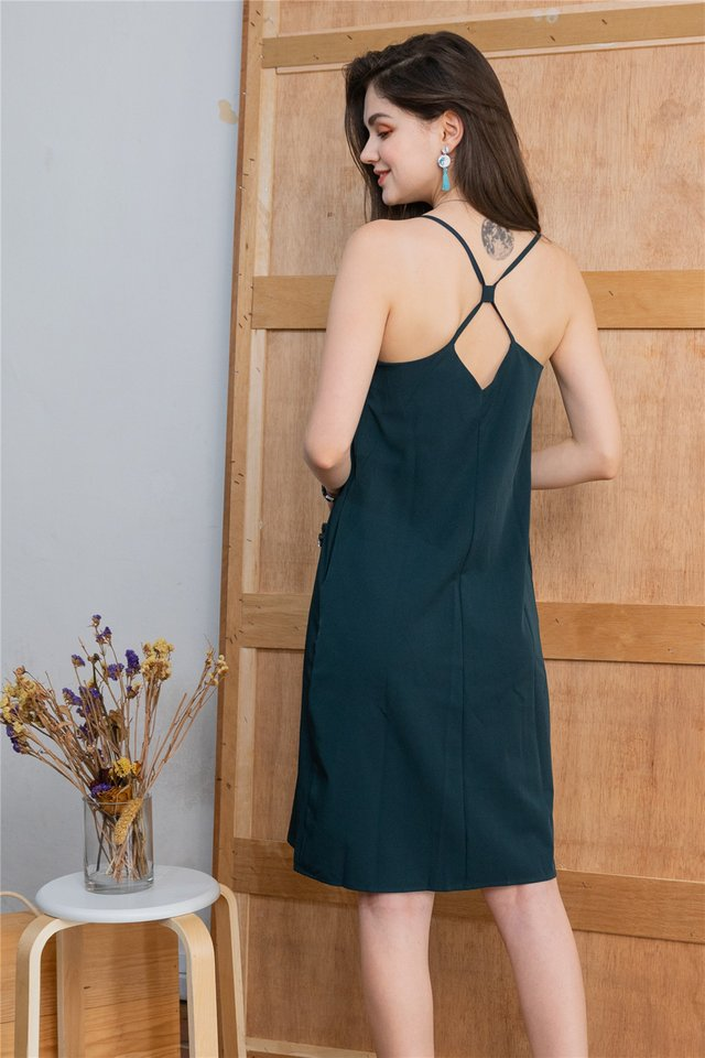 Diamond Crossback Midi Slip Dress in Emerald