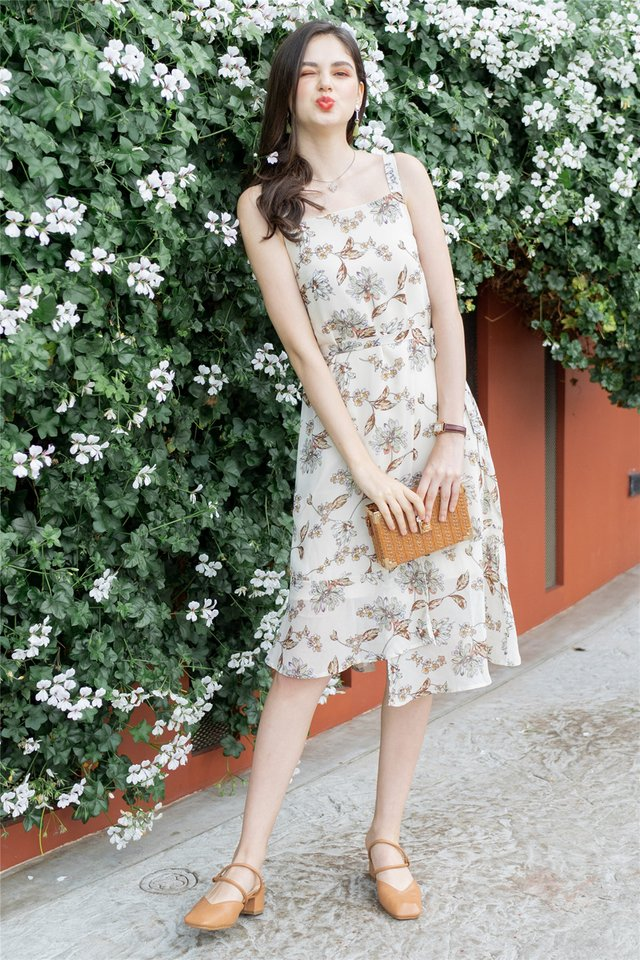 ACW Magnolia Floral Tier Hem Midi Dress in Ivory