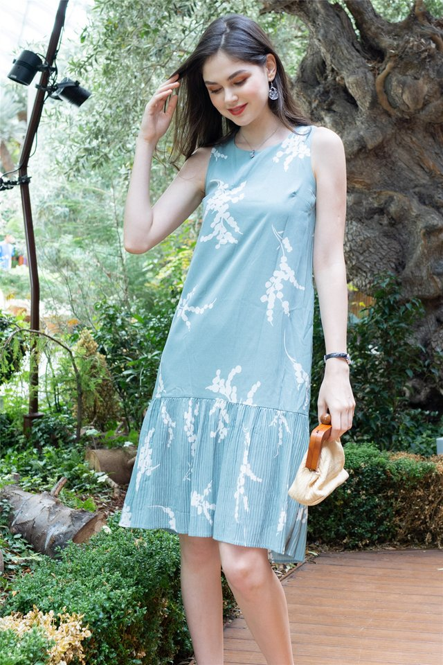 Mint Floral Pleated Hemline Midi Dress