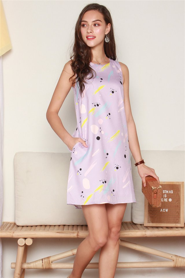 Splatter Brushstrokes Trapeze Dress in Lilac