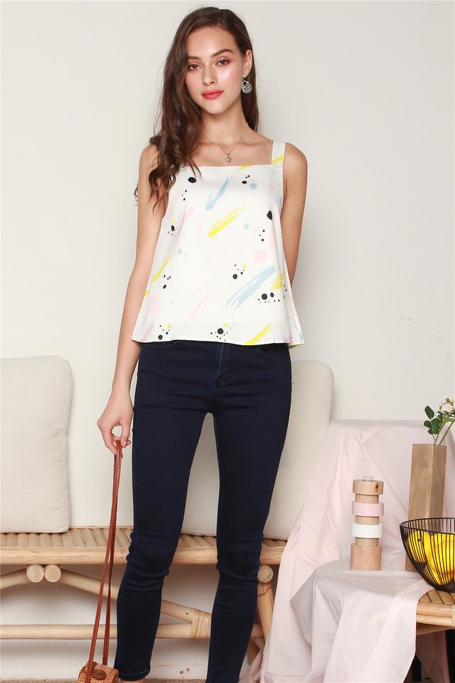 Two Way Splatter Brushstrokes Top in White