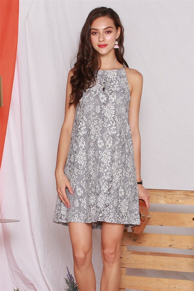 ACW Intricate Floral Lace Cut In Dress in Grey