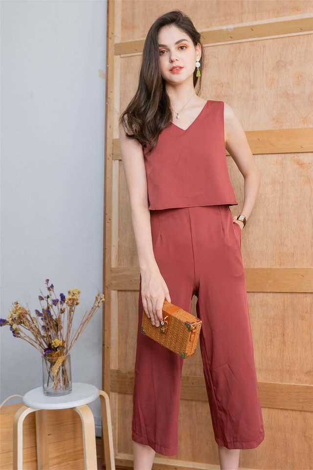 *BACK IN STOCK* ACW Layered V Neck Jumpsuit in Mauve