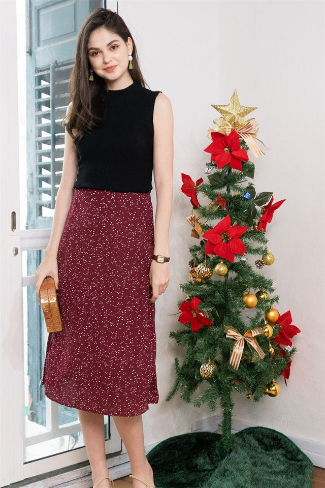 *BACK IN STOCK* Polka Dot Printed Midi Swing Skirt in Wine