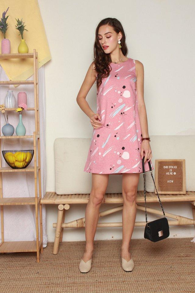 Splatter Brushstrokes Trapeze Dress in Mauve