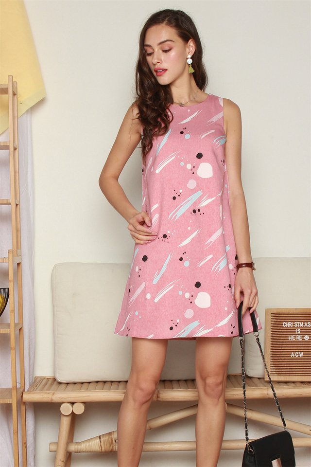 Splatter Brushstrokes Trapeze Dress in Mauve