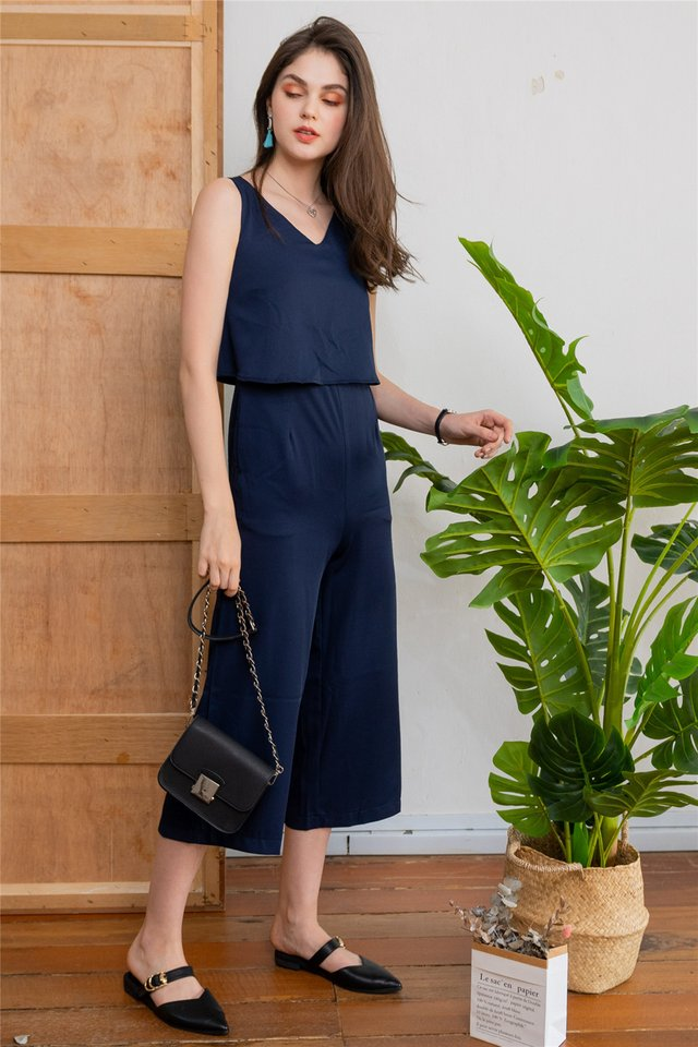 *BACK IN STOCK* ACW Layered V Neck Jumpsuit in Navy
