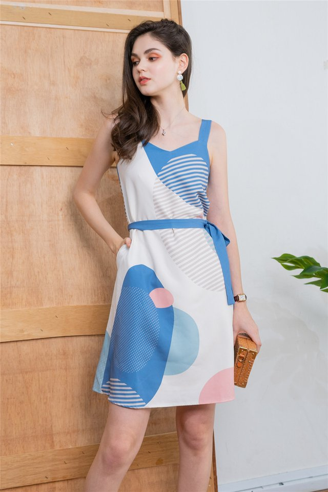 Geometric Rocks Two Way Dress in Blue