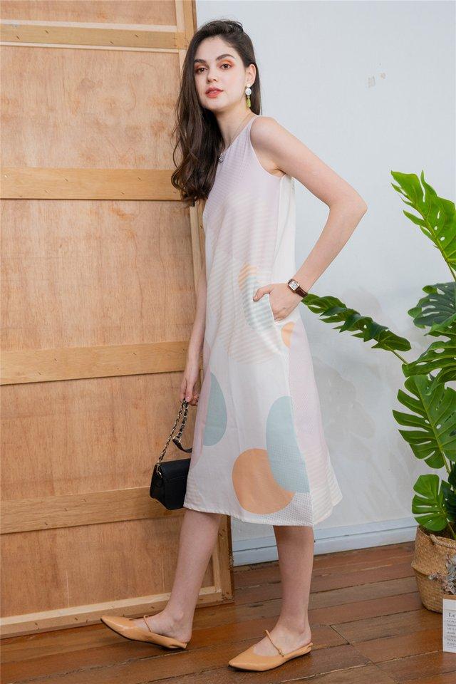 Geometric Rocks Slit Midi Dress in Khaki