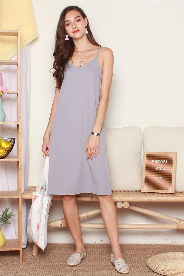 Diamond Crossback Midi Slip Dress in Dusty Grey