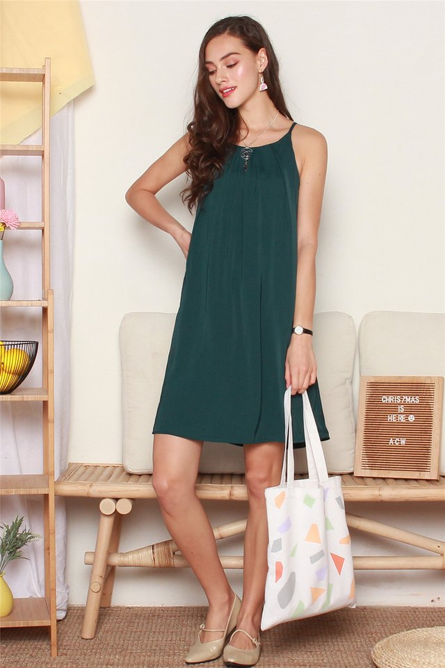ACW Front Pleats Cut In Dress in Emerald