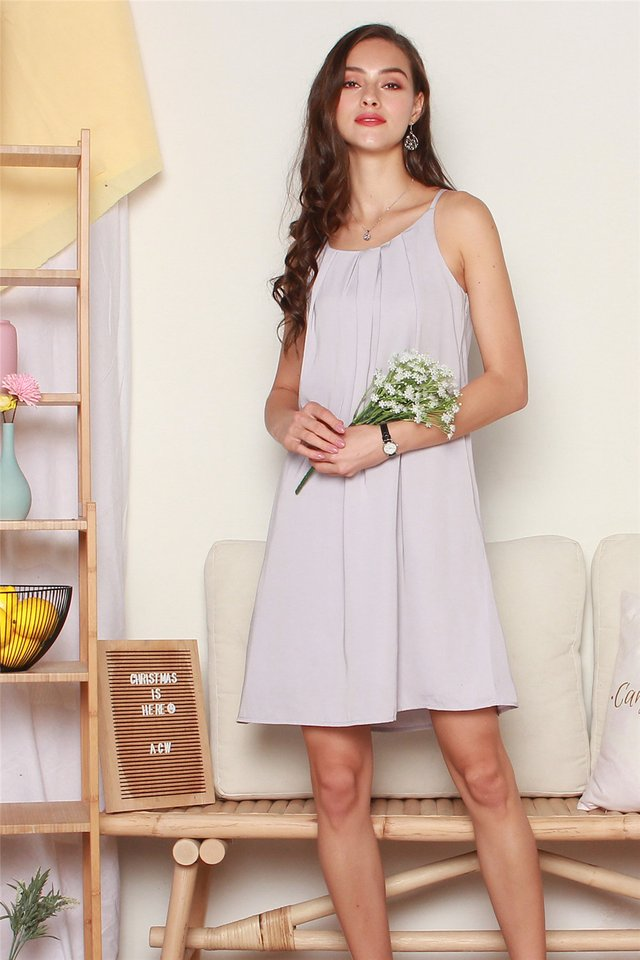 ACW Front Pleats Cut In Dress in Dusty Grey