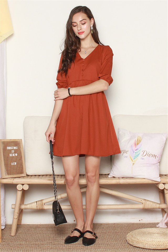 Button Panel Babydoll Sleeved Dress in Camel Brown
