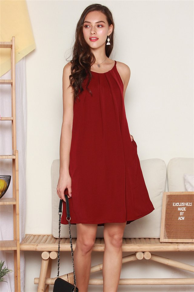ACW Front Pleats Cut In Dress in Wine