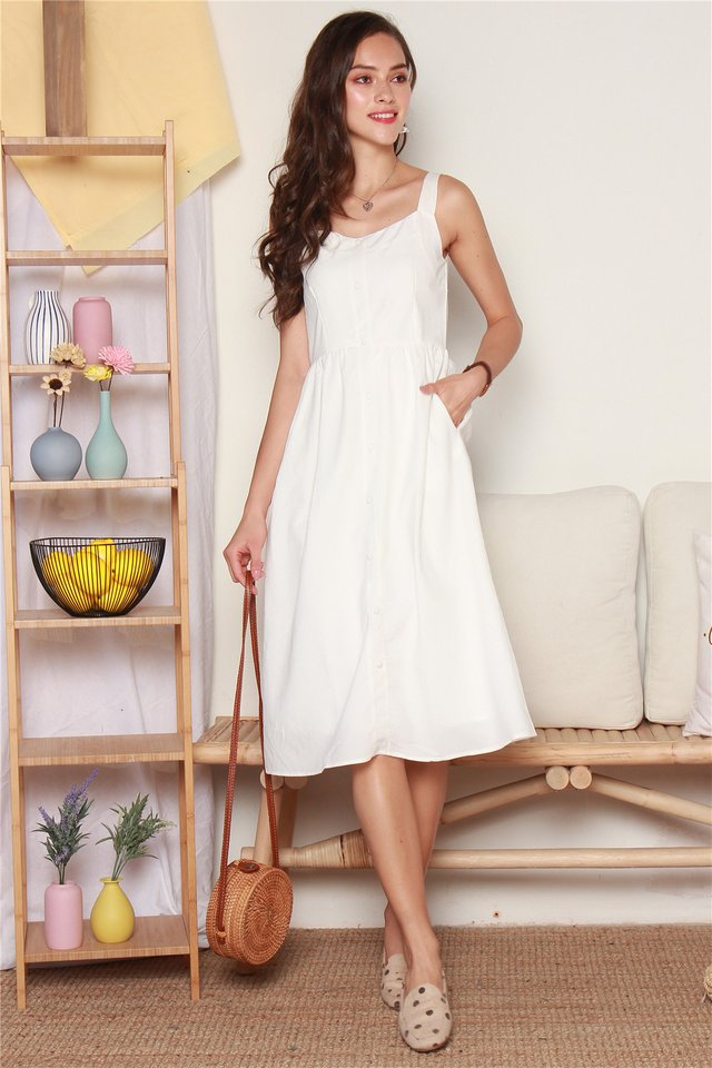 Button Down Thick Strap Midi Dress in White